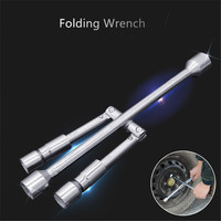 Detachable 4 Way Cross Wrench with 17mm 19mm 21mm 23mm Standard Sockets Universal Car Vehicle Auto Tire Tool Wheel Brace Silver