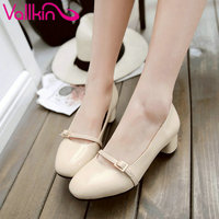 VALLKIN 2017 Beige Patent Leather Spring Autumn Shoes Square Med Heel Woman Pumps Women Slip On