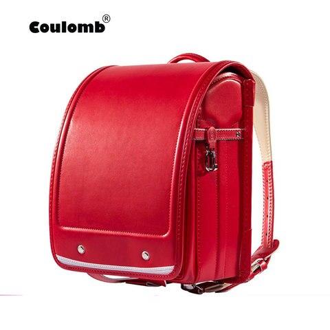 Backpack para Menina e Meninos Coulomb Kid Ortopédicos Escola Bag Crianças Estudantes Bookbags Japão pu Japonês Randoseru Mochila Quente