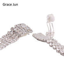 Grace Jun(TM) New Arrival Rectangle Tassels Rhinestone Clip on Earrings for Women Party Wedding Charm Jewelry No Hole Ear Clip