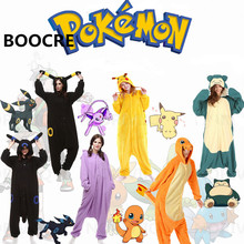 Anime Pokemon Adult Onesie Pajamas Costume Pikachu fire dragon Umbreon Snorlax Unicorn Shark Mouse Sleepwear Pyjamas