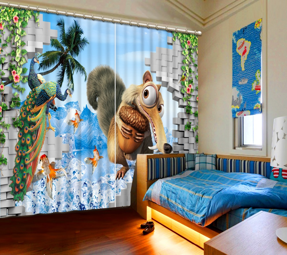 Kids modern bedroom curtains - Modern Creative Peacock Squirrel Animal Curtain Customize Curtains For Living Room Bedroom Kids Room Drapes Cotinas