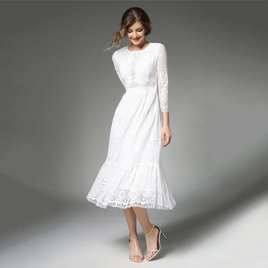 Ladies Gowns: White Lace Dress Women Vintage Chiffon Elegant National