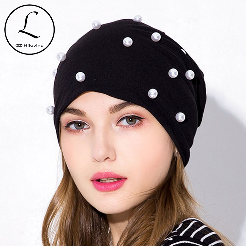 GZhilovingl New Womens Beanies Hats Cotton With Pearls Autumn Winter Soft Solid Ployester Slouch Skullies Hats For Ladies Girls