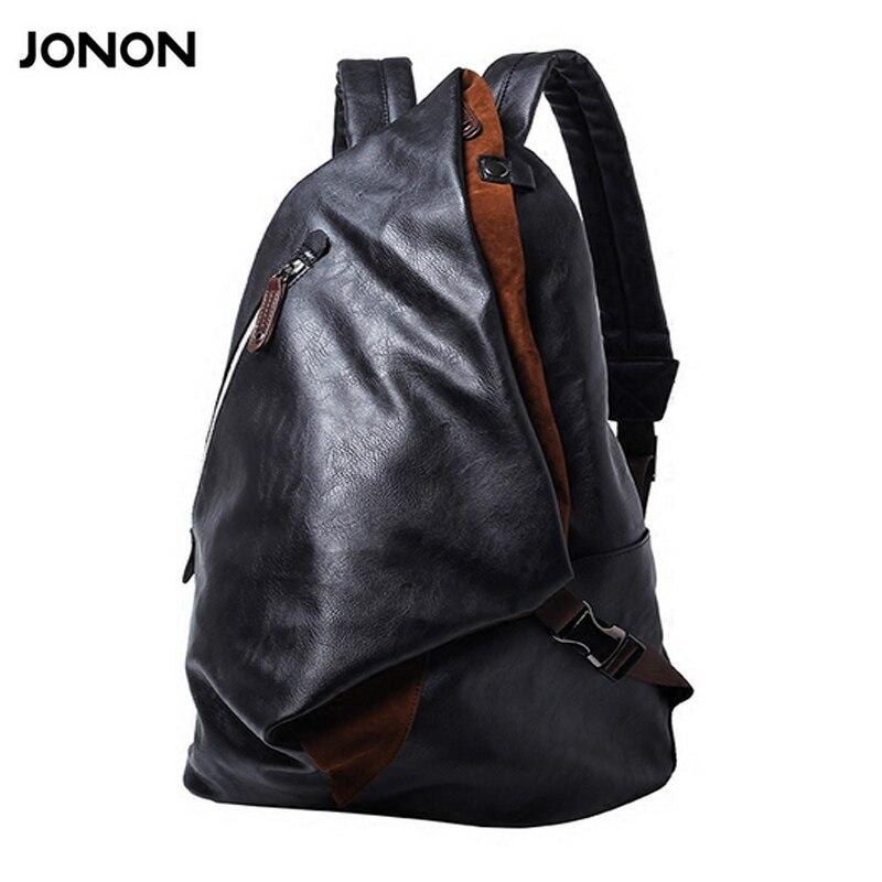f76b4f6bf7 Jonon 2017 Brand Men s Backpack PU Leather Backpacks Male School Bags  Laptop Backpack Man Black Waterproof Travel Backpack-in Backpacks from  Luggage   Bags ...