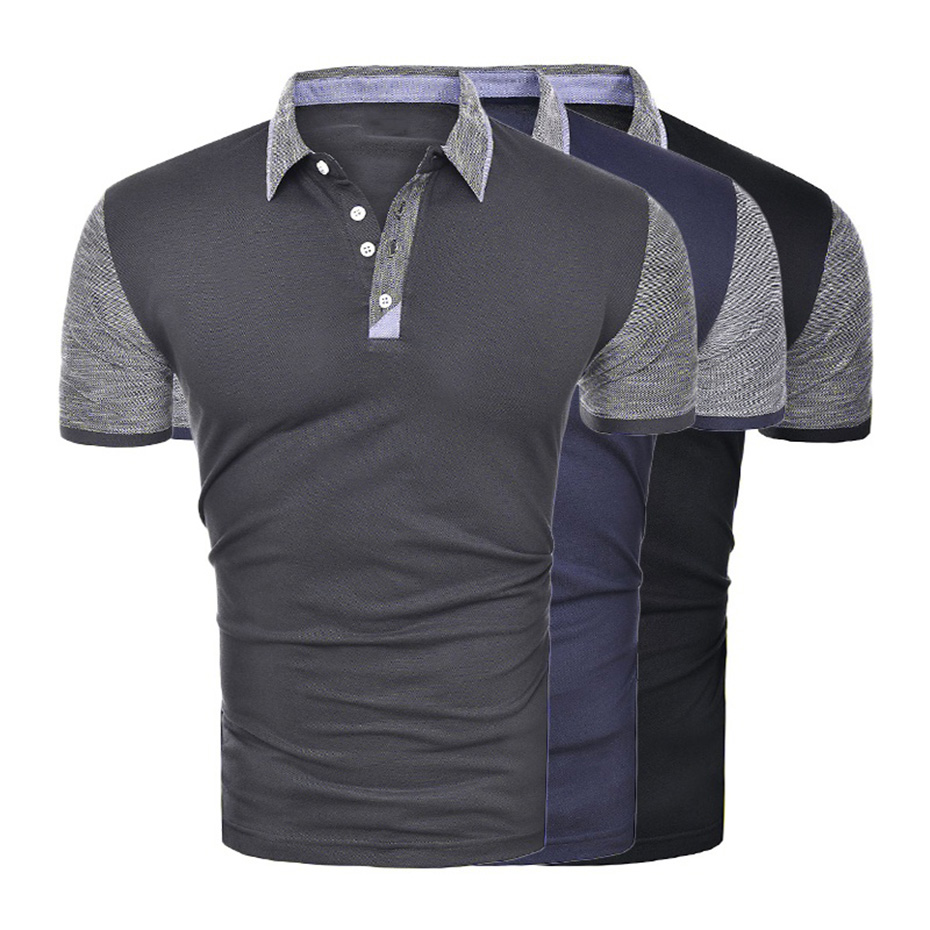 ZOGAA Men   Polo   Shirt Business Casual Solid Male Short Sleeve Breathable Patchwork