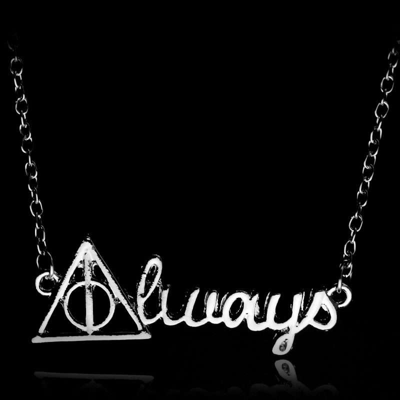 SC Hot Sell Always Necklace Deathly Hallows Silver Letter Pendant Necklace Vinage Triangle Triforce Collares Kolye For Women Men