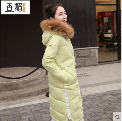 2016 new hot winter Thicken Warm woman Down jacket Coat Parkas Outerwear Slim Hooded Raccoon Fur collar Luxury long plus size shanson