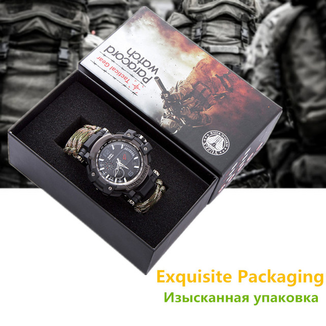 Outdoor Survival Watch Multifunctional Waterproof Military Tactical Paracord Watch Bracelet Camping Hiking Emergency Gear EDC 6
