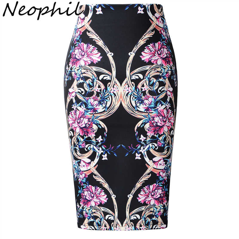 Neophil Royal Luxury Floral Print High Waist Elastic Hip Women Midi Pencil Skirts Bodycon Sexy Slim Work Wear Jupe Femme S07050