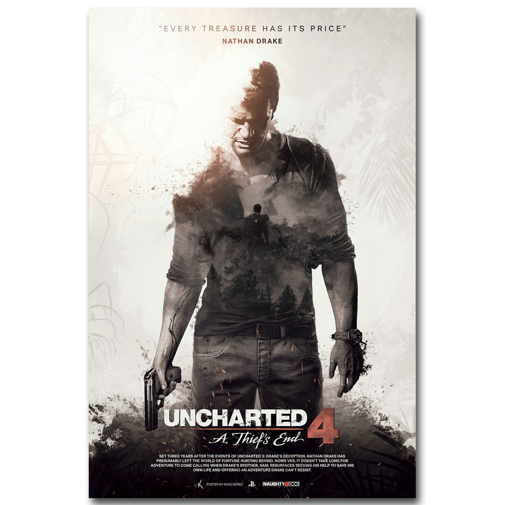 Uncharted 4 A Thiefs End Art Silk Fabric Poster 13x20 24x36inch New Game Pictures for Living Room Wall Decor 008 image