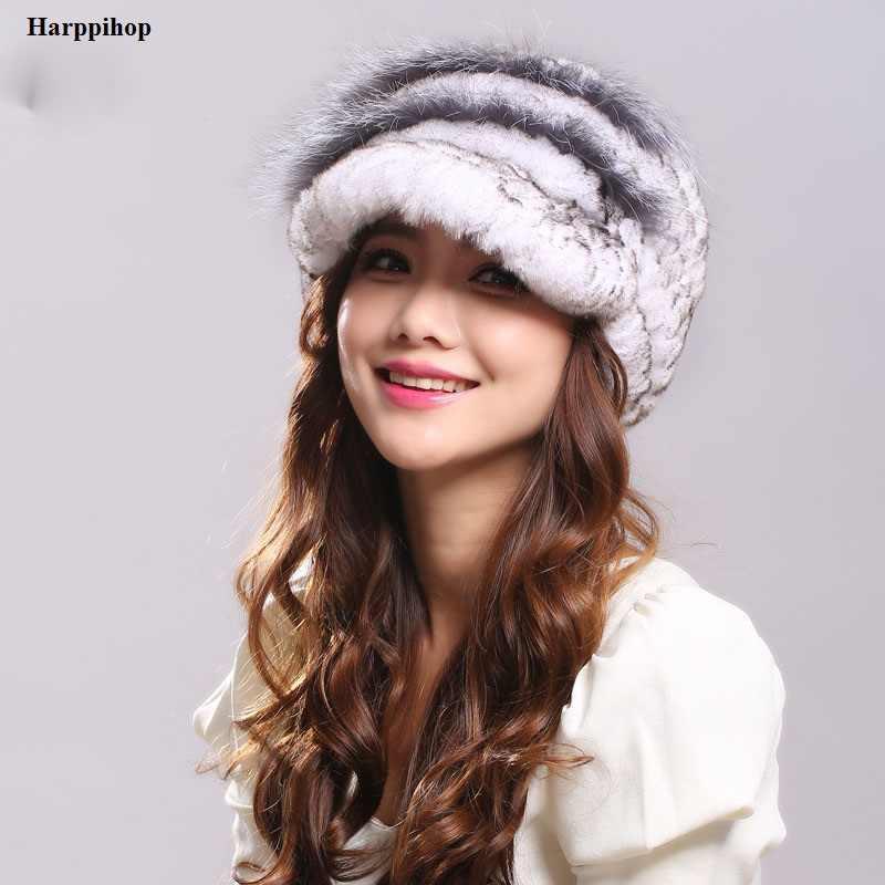 2017 Winter Woman Fur Cap Beanie Hats Visor Rex Rabbit Russian Fur Cap Brim  4cm High 237615f4774