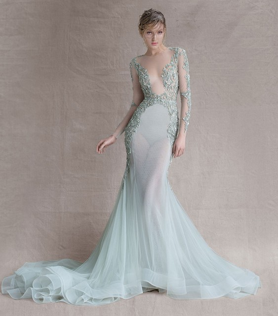 New Lasted O Neck Paolo Sebastian Long Sleeve Transparent Mermaid ...