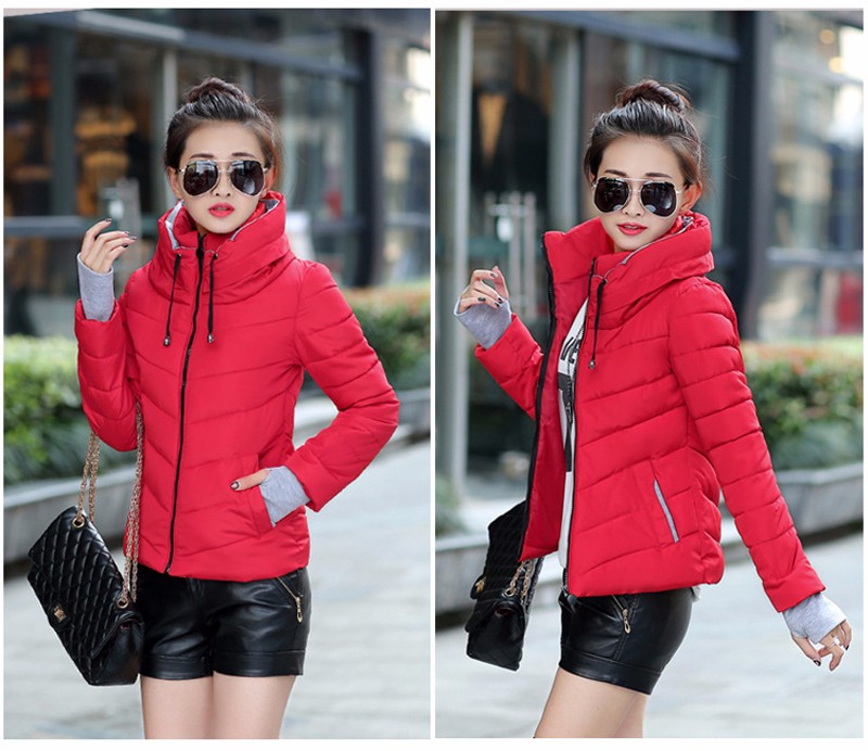 Winter Jacket Women Parkas Thicken Outerwear solid hooded Coats Short 26