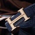 2016 подлинной Мужской аллигатора пояса Коричневый и черный пряжки кожа сглаживания кожаный пояс мужчины luxury brand Горный Хрусталь золотой пояс