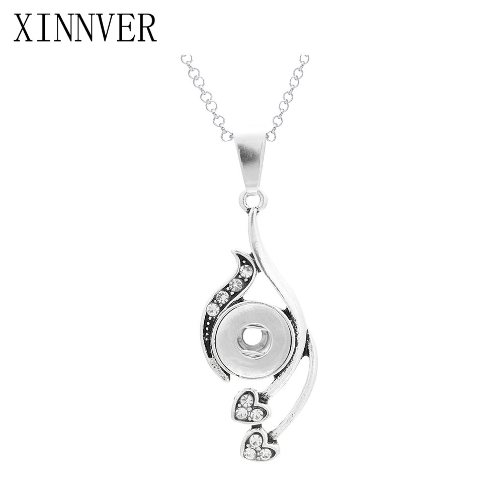 Xinnver Snap Buttons Necklaces Charms Heart Pendant Necklace Link Chain Fit 12MM Snap Buttons Jewelry Choker Wholesale ZG129 image