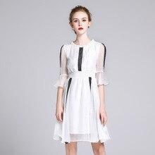Summer Dress Silk 2018 Women White Sweet Ruffles Lace Patchwork O Neck Knee Length vestido