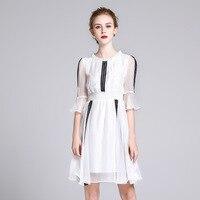 Summer Dress Silk 2018 Women White Sweet Ruffles Lace Patchwork O Neck Knee Length Silk Dress vestido