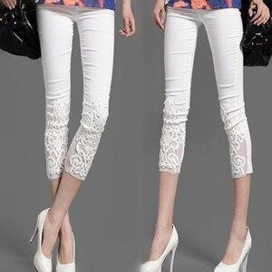 Image 3 - Women Elastic Lace Leggings Summer thin three quarter Pants bodycon jeggings Big Size Cropped Short Trousers Black White
