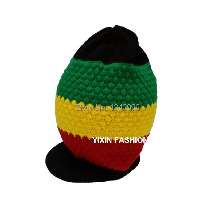 5pcs lot Unisex Knitted Rasta Colored Beanie With Small Visor Cap Jamaica  Reggae Baggy Slouchy Style Hat-in Skullies   Beanies from Men s Clothing ... 434394cc7cc3