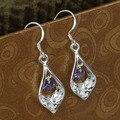 E207 atacado prateado brincos, Moda jóias de prata, Embutidos Purple Stone Shell brincos / azfajqmash
