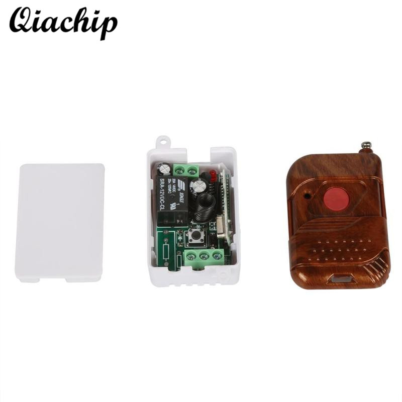 QIACHIP 433MHz DC 12V 1CH RF Relay Receiver Remote Control Switch + 433 mhz RF Relay Transmitter Module Remote Control Diy Kit new 1ch 7v 12v 24v dc relay module switch wifi rf 433mhz wireless remote control timer switches for light work by phone