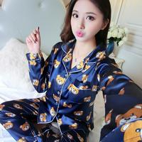 NEW Spring And Autumn Long Sleeved Ice Silk Pajamas Lady Thin Silk Two Sexy Female Suit