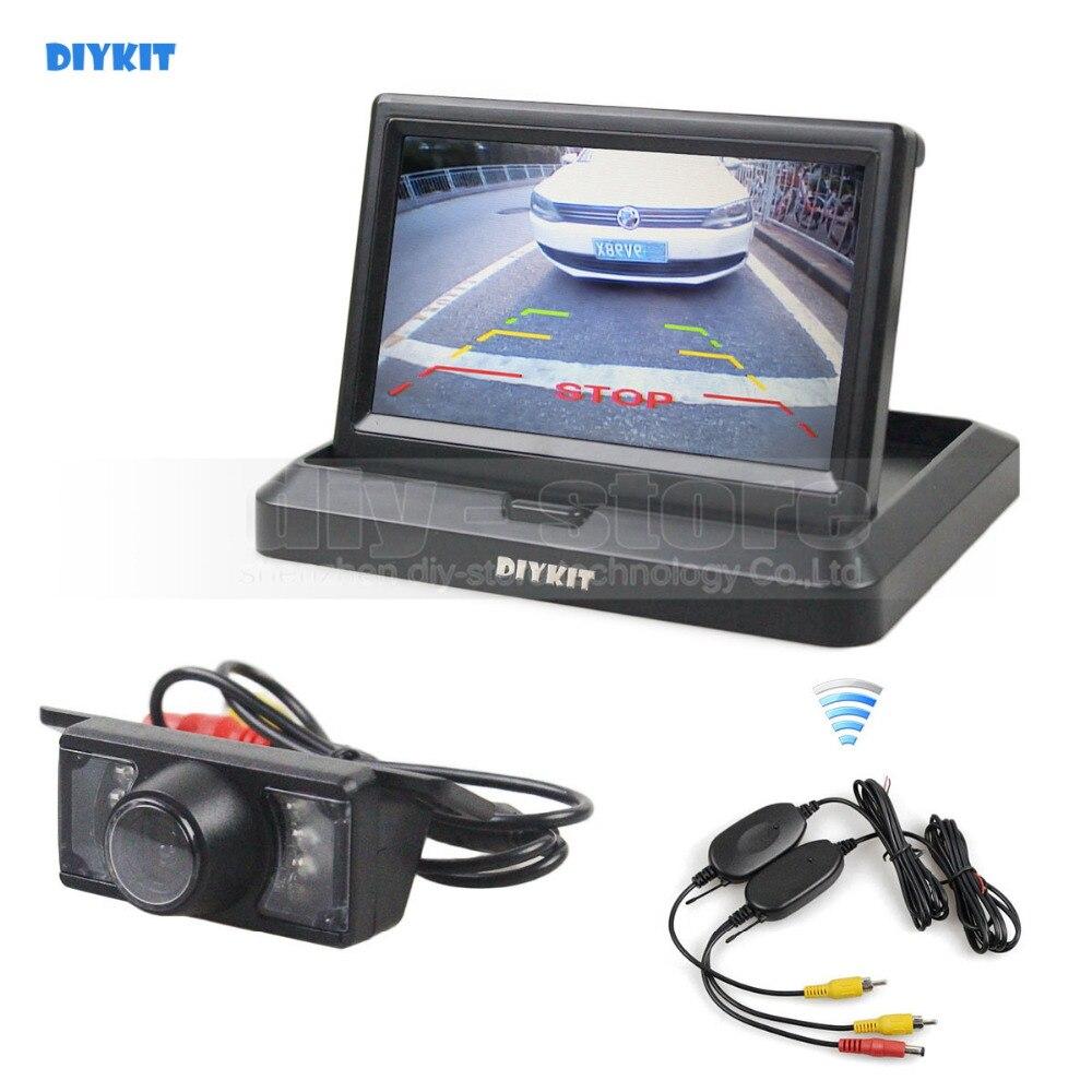 DIYKIT Wireless 800 x 480 5inch Foldabel Car Monitor IR Night Vision Backup Reverse Camera Car Rear View Camera