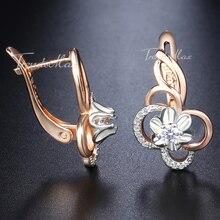Женские серьги-гвоздики с белым цветком и кубическим цирконием 585, серьги из розового золота для женщин, ювелирные изделия, подарки на день Святого Валентина, Прямая поставка GE131