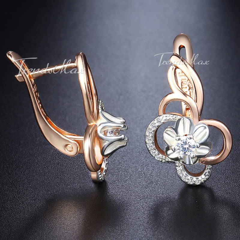 Womens Stud Earrings White Flower Cubic Zircon 585 Rose Gold Earrings For Women Jewelry Valentines Gifts Dropshipping GE131