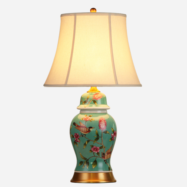 Awesome Classical European Elegant Chinese Peacock Green Ceramic Vase Fabric E27  Dimmerable Table Lamp For Bedroom Living
