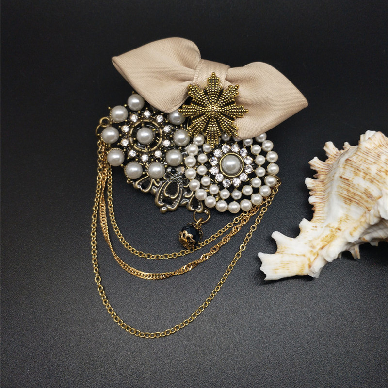 Female Beige Black Cloth Bowknot Chain Tassel Brooch Women Antique Owl Excellent Fine Jewelry Gifts For Coat Winter Fashion