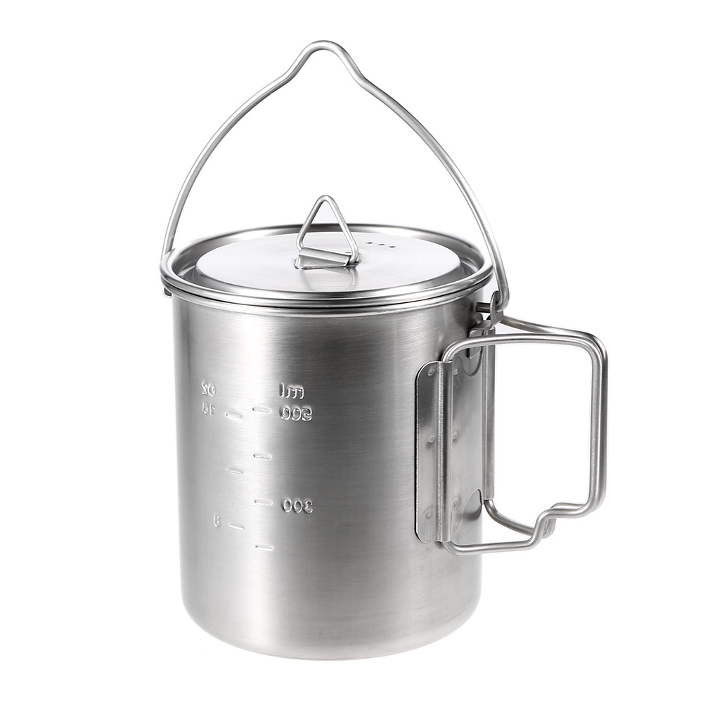 Lixada 750ml Stainless Steel Pot Portable Water Mug Cup with Lid Foldable Handle Outdoor Camping Cooking Picnic Tableware lid