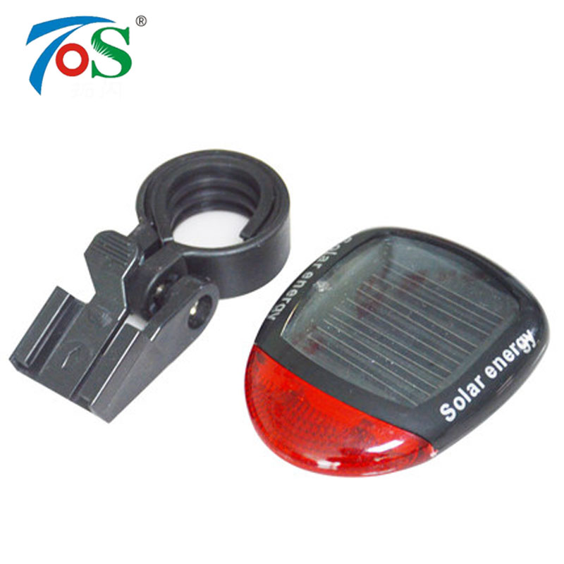 TOS Solar Energy LED Mountain Bicycle Rear Red Flash Light Rechargeable Tail Lamp Waterproof Cycling Bike Safety Warning Light rear waterproof red