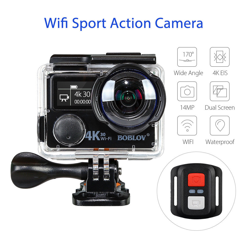 Boblov V8S 2Screen 4K 14MP WIFI EIS Sports Action Camera Ultra HD1080p Waterproof DV Video Camcorder 170 Degree Wide Angle x360 action camera wifi full hd 1080p 360 camera h 264 2 0 screen waterproof kamera wide angle mini dv dvr video camcorder
