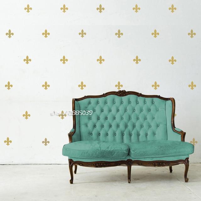 35pcs/set Fleur De Lis Wall Stickers Metallic Gold Vinyl Wall Decals Decor  Bedroom Livingroom
