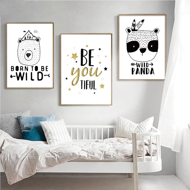 Motivational Bear Panda Poster Quotes Prints Print Black White Canvas Art Painting Nursery Wall Picture