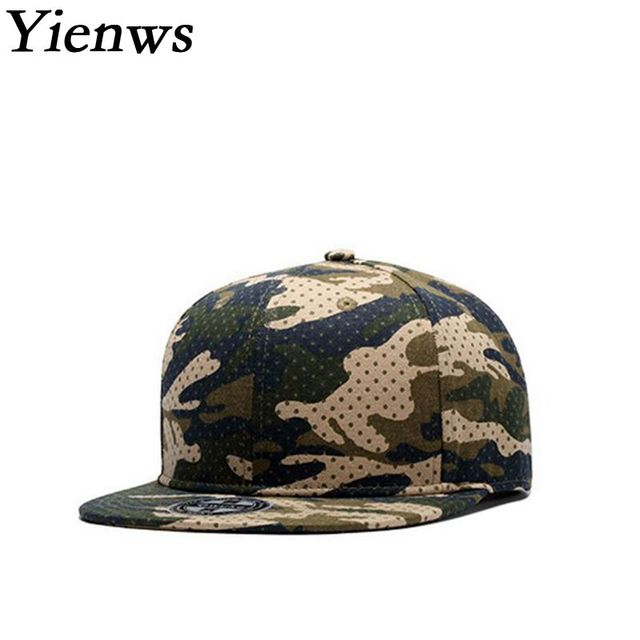 Yienws Camo Gorras Planas Hip Hop Caps For Women Men Kpop Full Cap Brim  Straight Bone Snapback Cap YIC471 d52166c39a8
