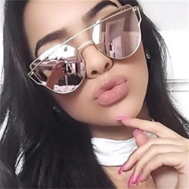 6b779c40c0e960 Or rose Cat Eye lunettes de Soleil femmes mode Miroir rose métal Points lunettes  de soleil