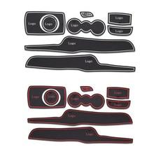8Pcs/Lot 3D Rubber Car Door Groove Mat Gate Slot Pad Non-slip Mat Cup Holder Floor Mats For Ford Fiesta Car Interior Decoration