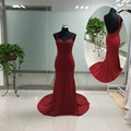 Real Picture Cheap Burgundy Evening Dresses 2017 Sweetheart Appliques Top Mermaid Prom Dresses Long Sexy Robe de Soiree ASAE51