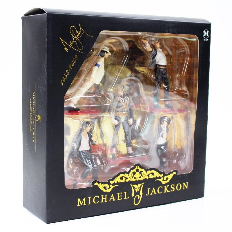 5pcs//set MJ Action Figure Dancing MJ PVC Dolls Smooth Criminal Moonwalk King of