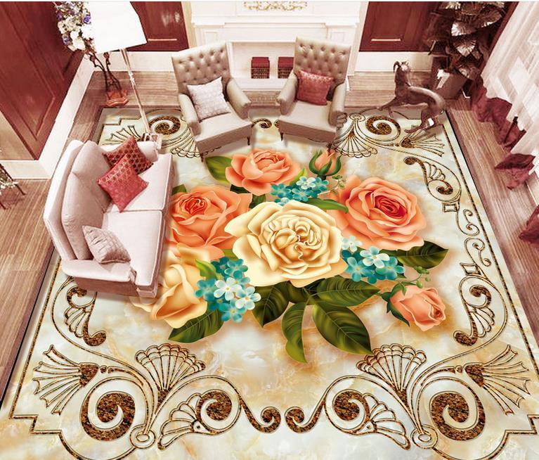 3d floor tiles Parquet marble living room 3d stereoscopic European marble pattern floor wallpaper vinyl flooring