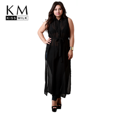 Kissmilk Women Solid Black Long Shirt Semi Sheer Turn Down Collar Sleeveless Casual Female Shirt  Slipt Big Plus Size все цены