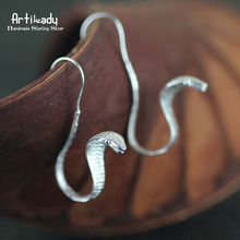 Artilady hechos a mano 925 pendientes de moda cobra pendientes de diseño para para joyería de regalo navidad