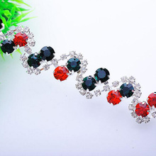 10Yards Sparkly Handmade Rhinestone Trim Colorful Crystal Applique Motif For Wedding Dress Evening Gown Party AIWUJIA