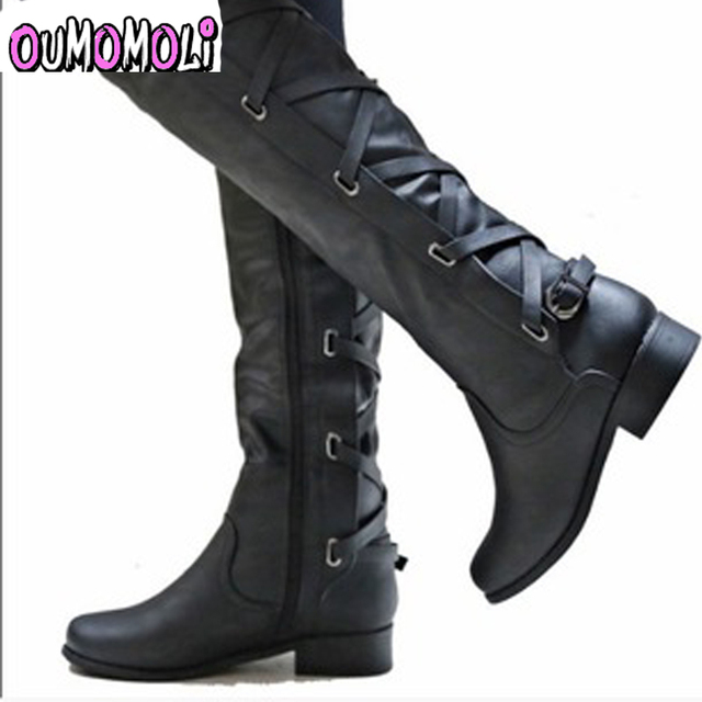 64ad96f8375 2018 large sizes 34-43 Sexy Flat Shoes Knee-High Boots Woman Platform Winter  women s Shoes Fashion Boot female y012