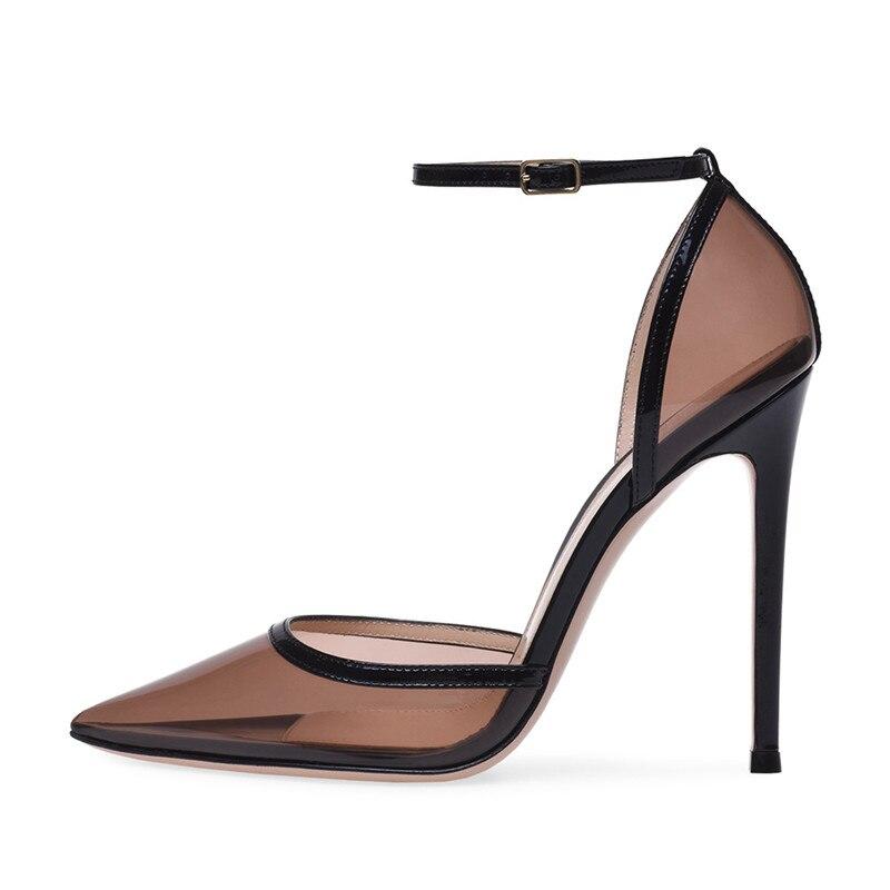 2019 À Pointu Bride Dames Nouveauté Talons Hauts Chaussures Femmes La Sandales Femme Cheville Noir Mince Sandale Sandalias Pour 12 Cm D'été Bout BexdCro