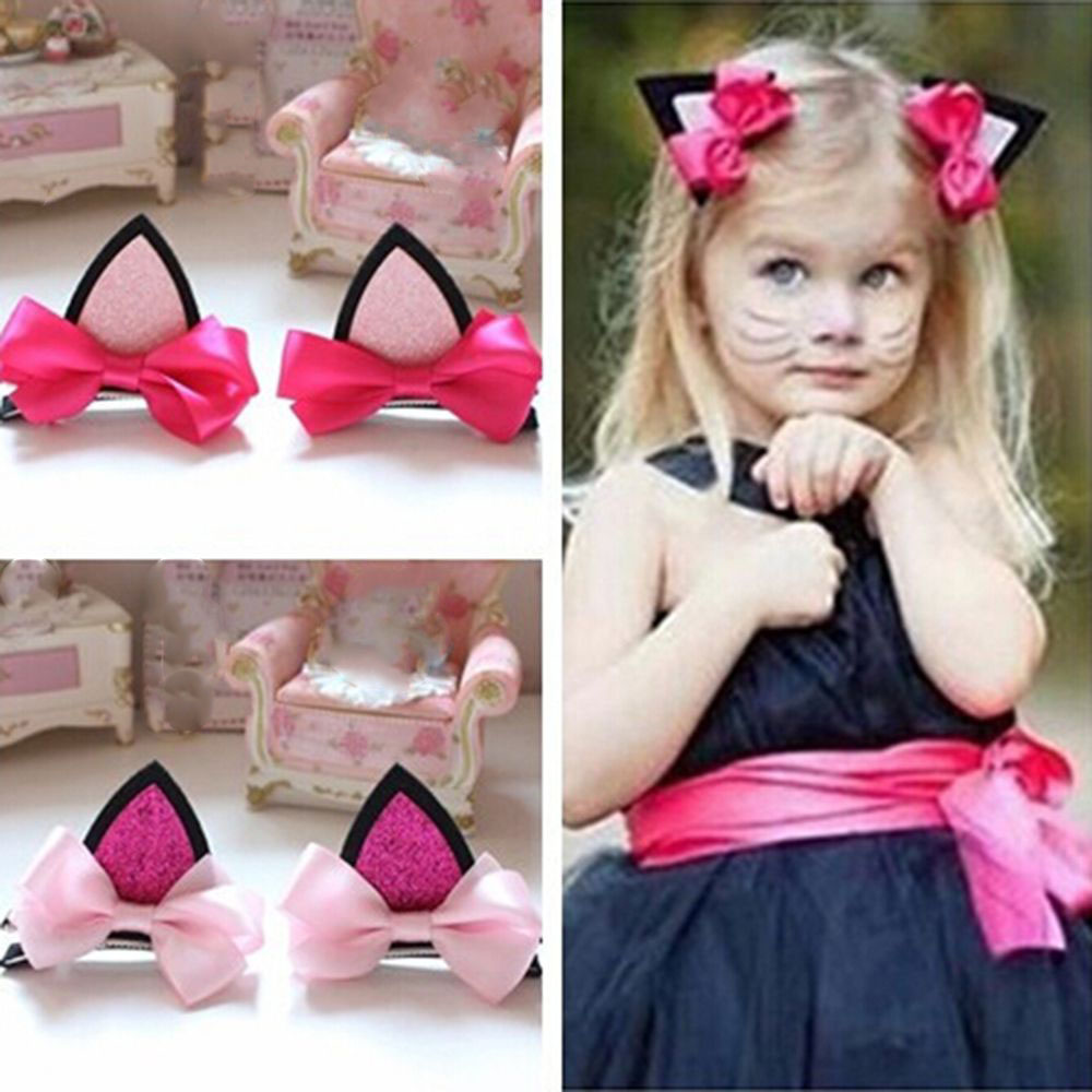 2pcs//lot Children Baby Girls Hairpins Flower Cat Ears Hairpin Hair Accessories