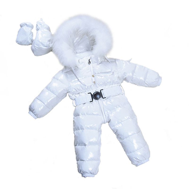 Baby Snowsuits Hooded Jumpsuit White Duck Down Jackets For Boys Girls Winter Snow Coats Kids Clothes Infantil Thicken Rompers winter down jacket for girls kids clothes children thicken coats duck down jackets girls hooded bow snowsuits natural fur coat
